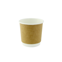 Kraft double walled PLA cardboard cup 120ml Ø62mm  H60mm