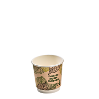 Double walled PLA cardboard cup 120ml Ø62mm  H60mm