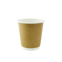 Kraft double walled PLA cardboard cup 230ml Ø80mm  H90mm