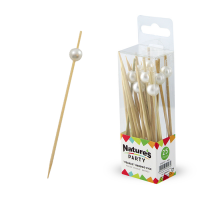 """Nature's Party: """"Bijou"""" bamboo pick with white pearl"""