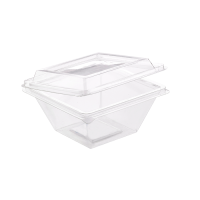 """Zeno"" transparent square PET cup with hinged lid  250ml 105x105mm H55mm"