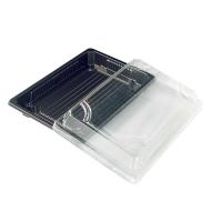 Bandeja negra para sushi con tapa 300ml 188x135mm H37mm