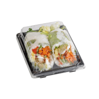 Bandeja sushi con tapa transparente  220x140mm H40mm