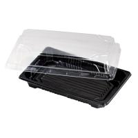 Barquette sushi plastique PS noir avec couvercle PET transparent Suky