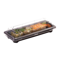 """Suky"" black PET sushi tray with clear lid  165x90mm H40mm"
