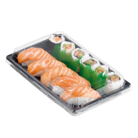 """Suky"" black PET sushi tray with clear lid  240x150mm H40mm"
