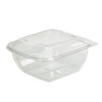 Square transparent PET salad bowl with lid  1500ml 190x190mm H80mm