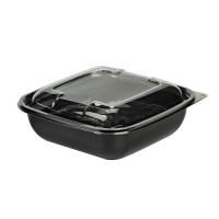 Saladier PET carré noir avec couvercle