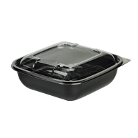 Square black PET salad bowl with transparent lid 1 000ml 190x190mm H55mm
