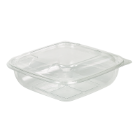 Square transparent PET salad bowl with lid  1 000ml 190x190mm H55mm
