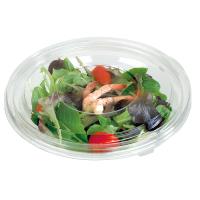 Saladier PET rond transparent avec couvercle