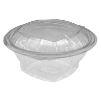 Round transparent PET salad bowl with hinged lid 750ml Ø151mm  H60mm