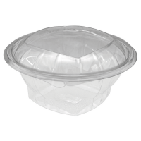 Round transparent PET salad bowl with hinged lid 1 000ml Ø165mm  H65mm