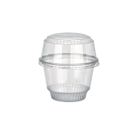 Clear round PET plastic dessert cup 280ml Ø98mm  H68mm