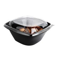Square black PET salad bowl with transparent lid 750ml 190x190mm H65mm