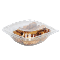 Square transparent PET salad bowl with lid  1 000ml 190x190mm H75mm