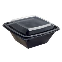 Ensaladera cuadrada RPET negra con tapa transparente 750ml 160x160mm H70mm