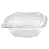 Square transparent PET salad bowl with lid  1 000ml 190x190mm H65mm