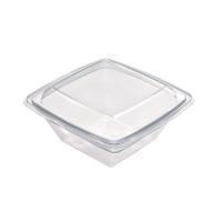 Square transparent RPET salad bowl  1000ml 195x195mm H70mm