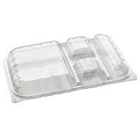 Clear PET lunch box with 4 compartments  330x210mm H50mm