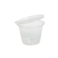 Pot plastique PP rond transparent avec couvercle attaché