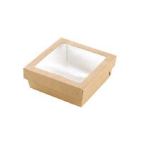 """Brown square """"Kray"""" cardboard box with window lid 500ml 135x135mm H50mm"""