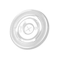 Clear PET plastic flat lid with straw slot  Ø78mm  H6mm