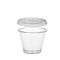 "Clear PET plastic ""Smoothie"" cup with dome lid with hole 270ml Ø95mm  H88mm"