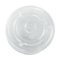 Clear PET plastic flat lid with straw slot  Ø84mm
