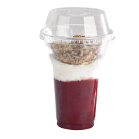 "Clear PET plastic ""Smoothie"" cup with dome lid with straw slot 450ml Ø95mm  H127mm"