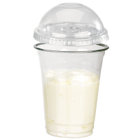 "Clear PET plastic ""Smoothie"" cup with dome lid with straw slot 360ml Ø92mm  H109mm"