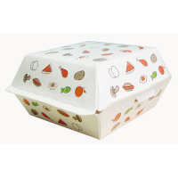 White cardboard burger box with food pattern  135x125mm H65mm