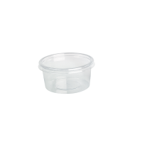Round transparent PET Deli container with flat lid 250ml Ø100mm  H50mm
