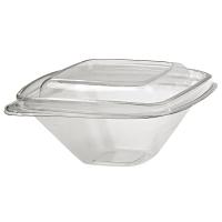 Pot Deli carré PET transparent avec couvercle