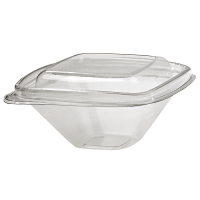 Square transparent PET deli container with lid  250ml 128x128mm H55mm
