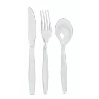 """Majesty"" transparent PS cutlery kit 6/1: knife fork spoon napkin salt pepper, transparent wrap  192x50mm"