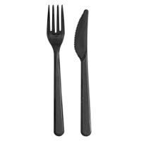 """Kit couvert plastique PS noir """"Lux"""" 2 en 1: couteau et fourchette"""