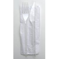 Transparent PS plastic cutlery kit 3/1 knife fork napkin, transparent wrap  165