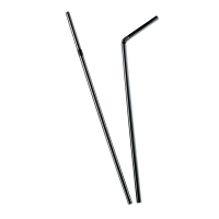 Flexible black PP plastic straw  Ø5mm  H240mm