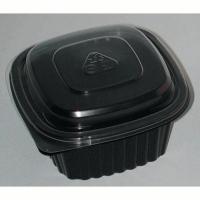 Black square PP plastic meal box 500ml 137x137mm H60mm