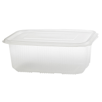 Clear rectangular PP plastic microweavable box with hinged lid 1 000ml 169x119mm H58mm