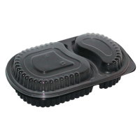 Black PP plastic 2-compartments meal box 780ml 235x145mm H40mm