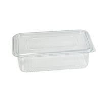 Rectangular clear PET box with hinged lid 1850ml 230x175mm H70mm