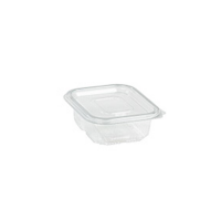 Rectangular clear PET box with hinged lid 150ml 120x110mm H25mm