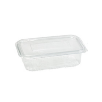 Rectangular clear PET box with hinged lid 1 350ml 230x175mm H55mm