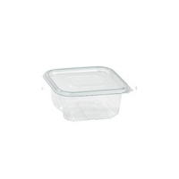 Rectangular clear PET box with hinged lid 1000ml 195x130mm H65mm