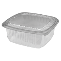Square clear PET box with hinged lid 1 000ml 172x167mm H75mm