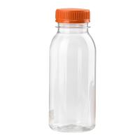 Bouteille plastique PET transparente avec bouchon orange