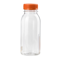Clear round PET bottle with orange cap 250ml 38x55mm H139mm