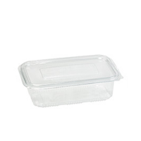 Rectangular clear PET box with hinged lid 780ml 195x130mm H50mm